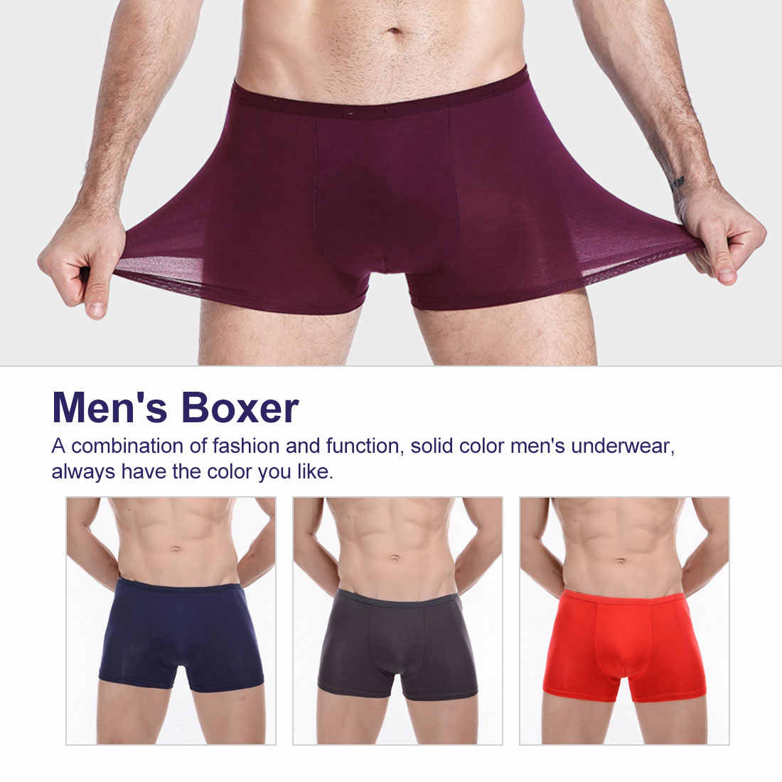 Boxer Shorts Cool Comfortable Soft Bamboo Boxers for Men Breathable Mens Underwear