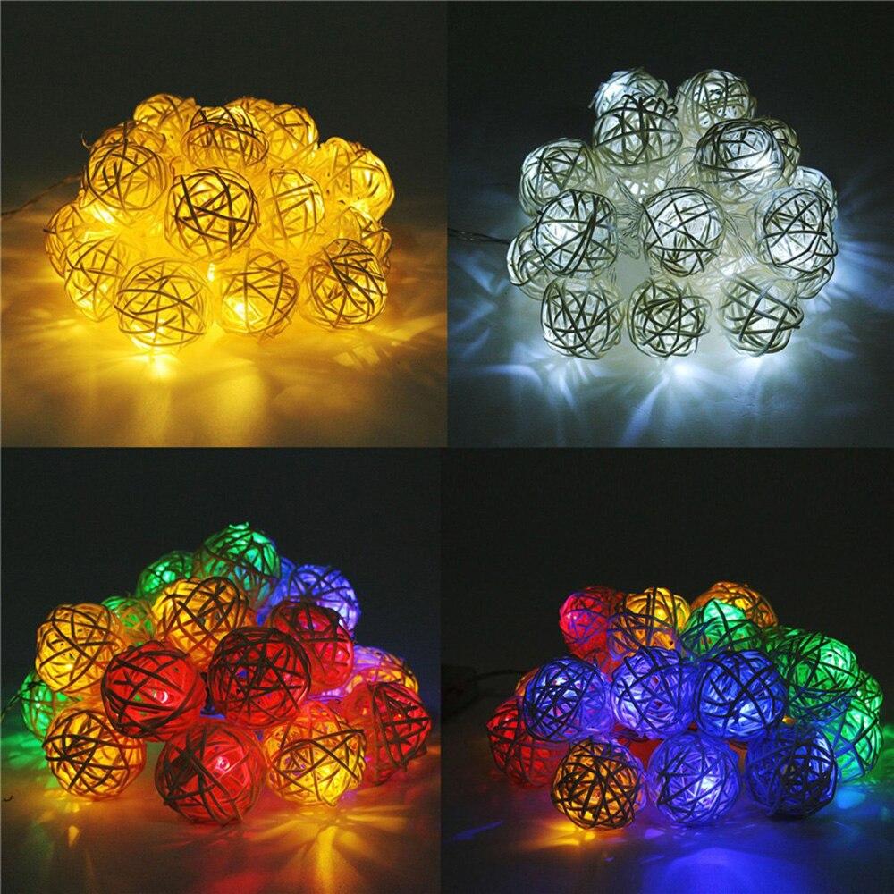 Rattan Ball Solar Power String Light 2.5M 20 Led Fairy Light Holiday Garden