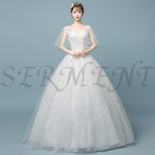 цена на White Style Embroidery Flower Lace Neck Line  Wedding Dress Simple Garden Wedding Dress Regular Back Lace Up V-neck