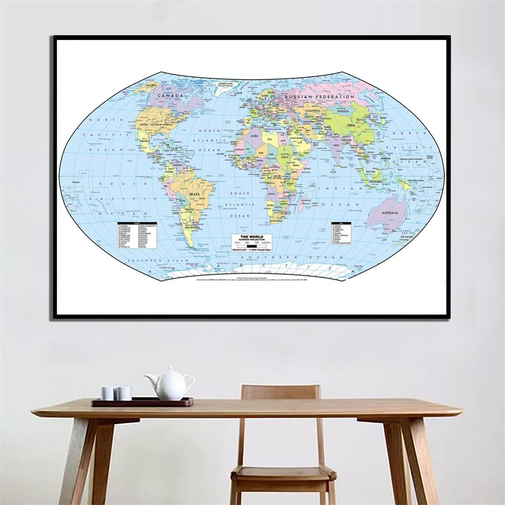 60x120cm The World Hammer Projection Fine Canvas Spray Painting HD World Map For Living Room Wall Decoration
