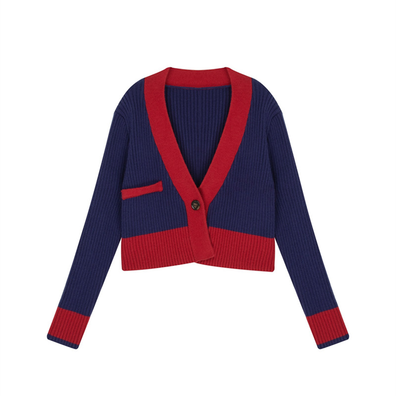 Spring Autumn Women's Contrast Knit Cardigan Retro Long Sleeve Outer Top Splicing Short Sweater Women New Trend  GD227