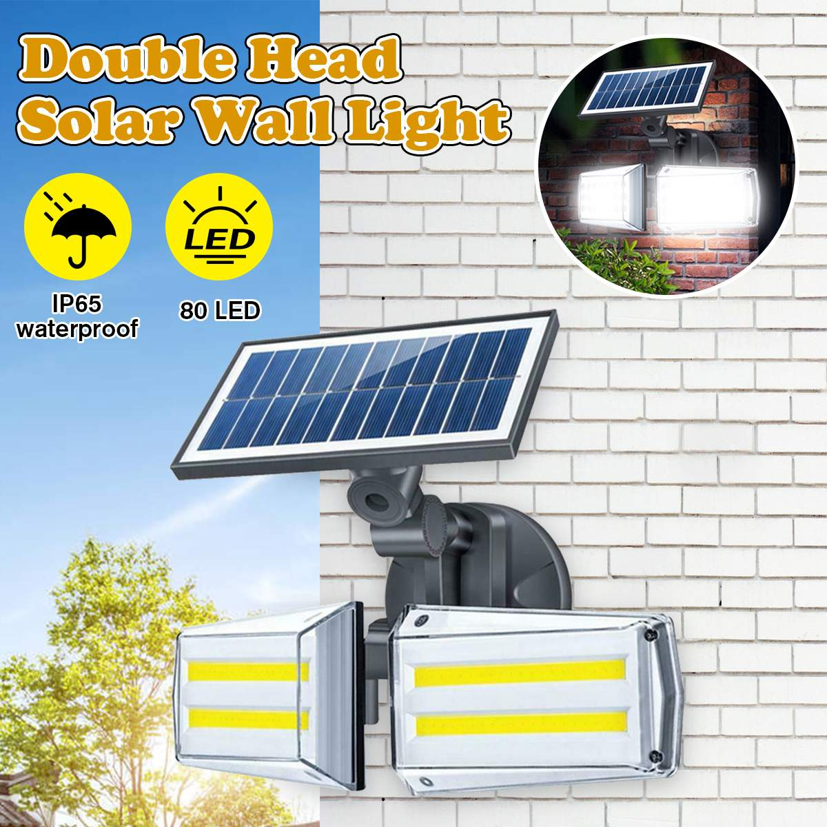 100W LED Dual Head Solar Lamp Radar Sensor COB Wall Light Spotlight Outdoors Solar Garden Light Yard LED Lamp Waterproof IP68