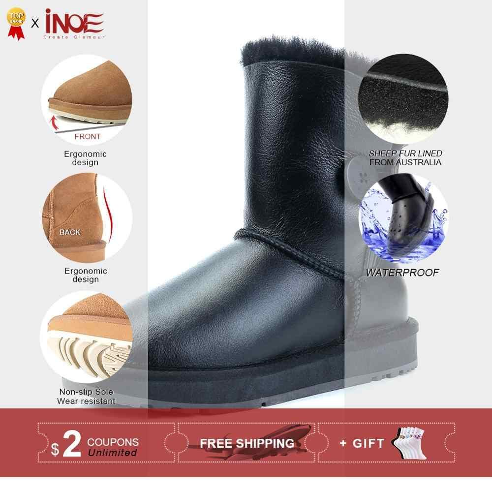 Botas de Invierno para mujer a media pantorrilla con botón piel de oveja lana forrada botas de nieve mantener el calor zapatos