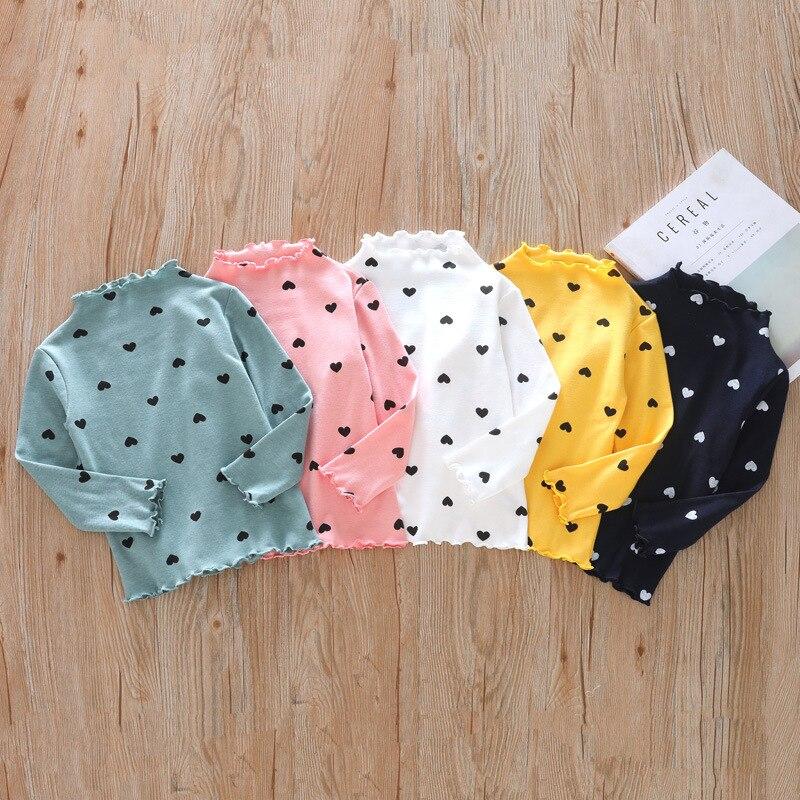Весенне-осенняя футболка с длинными рукавами для девочек модная детская рубашка в горошек с высоким воротником в европейском и американском стиле