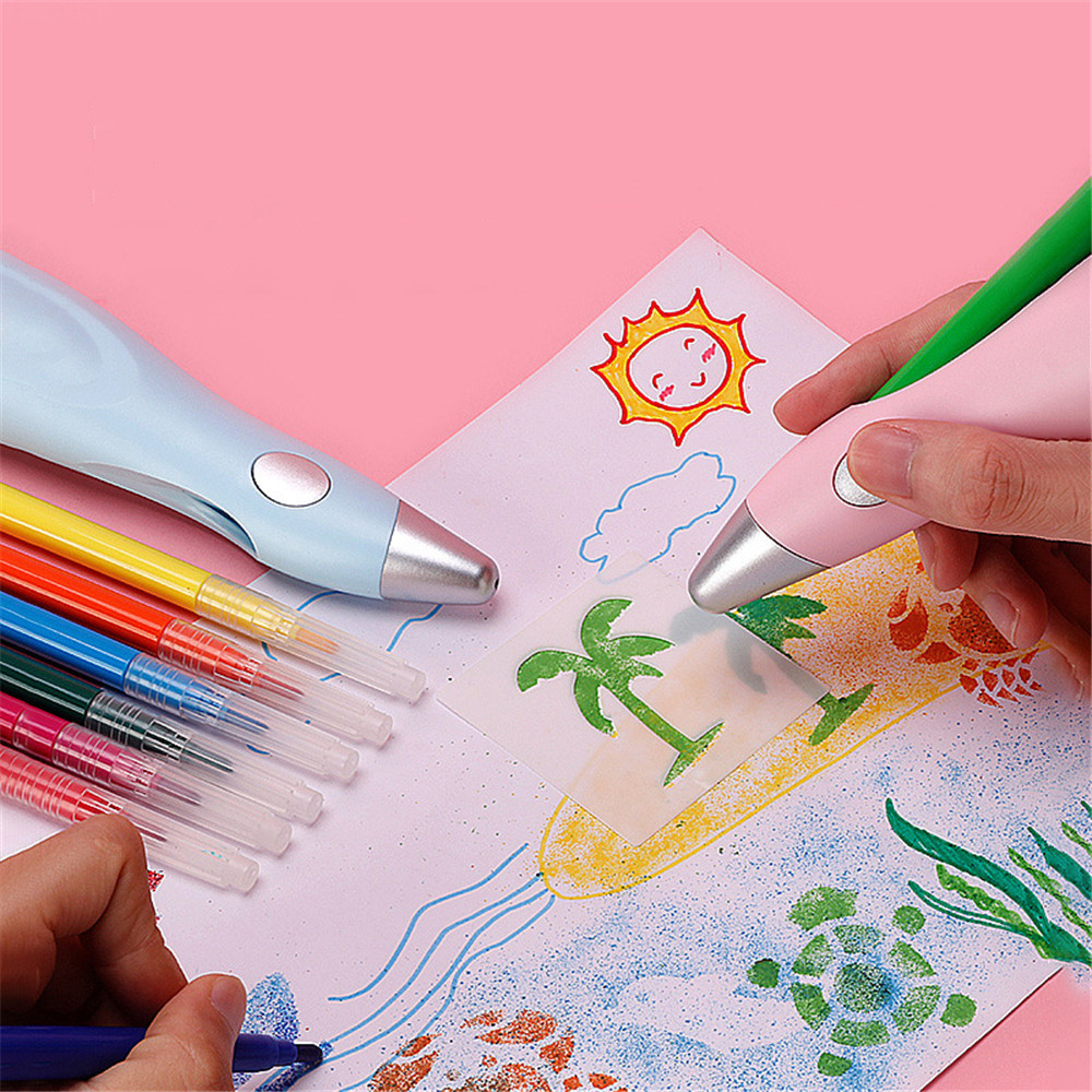 12 Colors Electric Airbrush Watercolor Pen Set USB Charging Electric Spray Pen Painting Drawing Set for Kids Creative Stationery