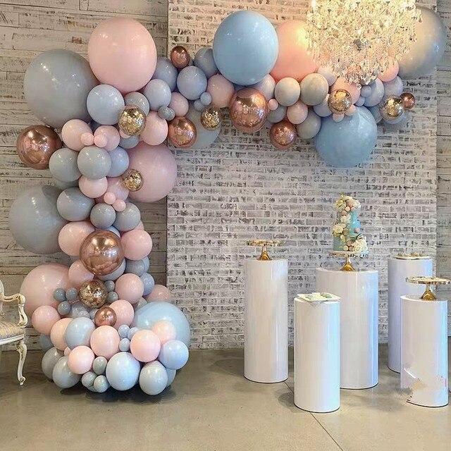 الباستيل الطفل الوردي الأزرق رمادي ماكرون طوق من البالونات طقم جارلاند 4D ارتفع الذهب بالونات الزفاف حفلة عيد ميلاد خلفية ديكور