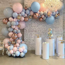 Pastel Baby Pink Blue Gray Macaron Balloon Arch Garland Kit 4D Rose Gold Balloons Wedding Birthday Party Backdrop Decor