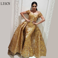 Crystal Lace 2 Piece Sparkly Dubai Sparkly Gold Evening Dress Detachable Skirt Robe de Soiree Turkish Gowns Removable Train