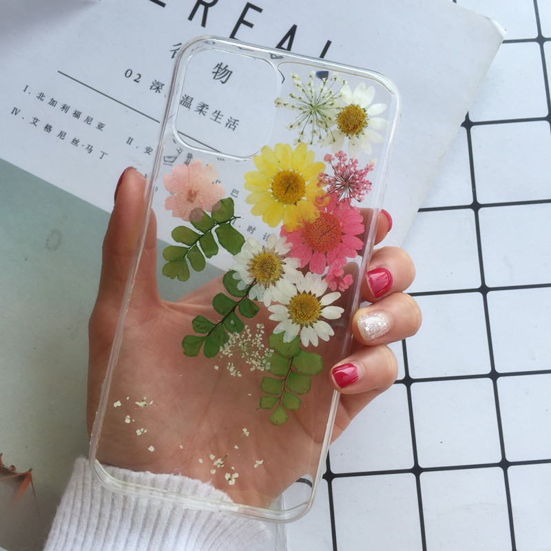 Tfshining dried real flower leaves handmade clear pressed phone case For iPhone 11 Pro Max XR XS Max 6 6S 7 8 Plus X Cover Case