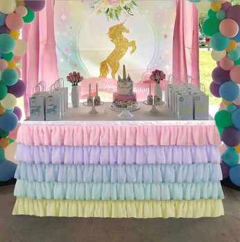 Rainbow Wedding Chiffon table skirts wedding runner cloths table surround skirt for baby kids shower birthday new year decor