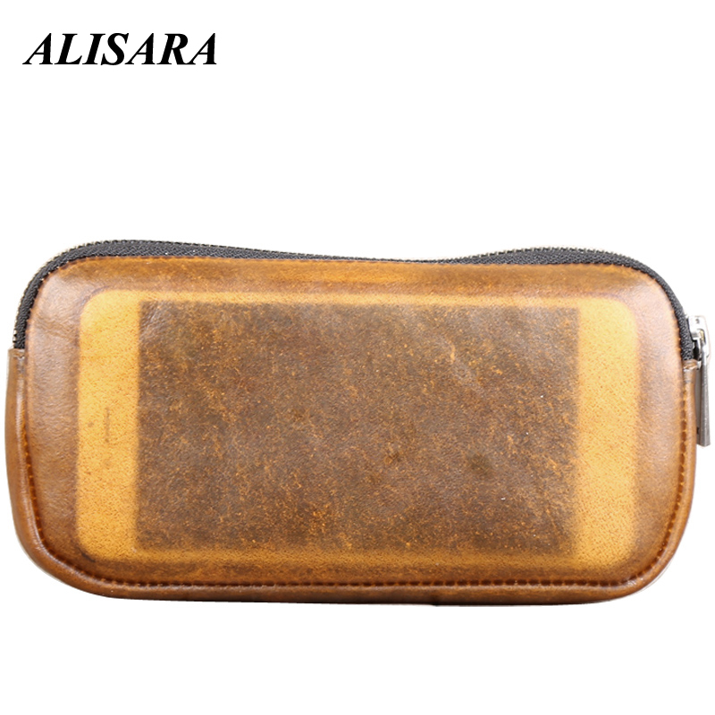 Zipper Long Wallets Men Genuine Leather Natural Color Women Phone Wallet 100% Real Cowhide Simple Coin Purses Clutch Change Bag