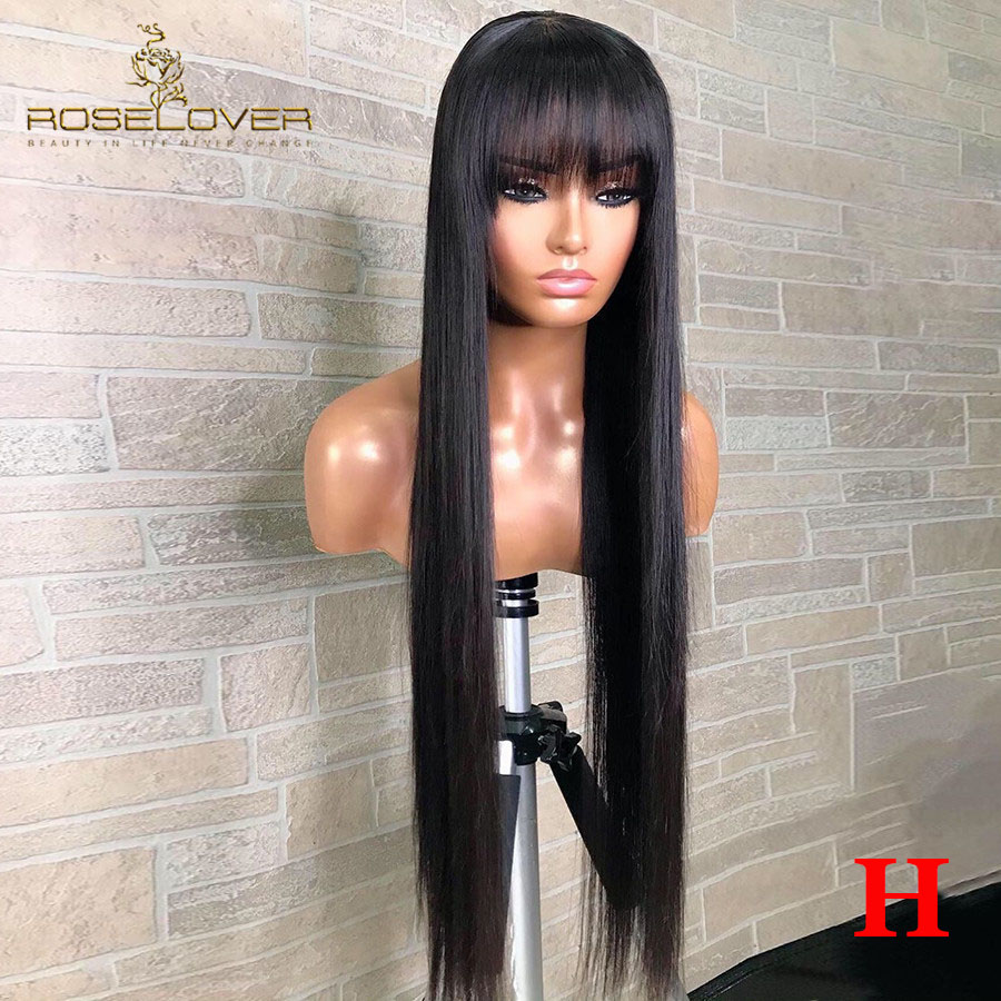 Straight Lace Front Human Hair Wigs With Bangs 180 Density 26 28 30 32 Inch Pre Plucked Brazilian Remy Hair 13x6 Lace Front Wig
