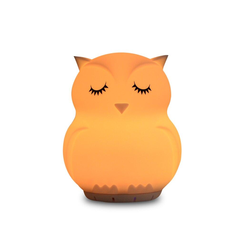 9 Colors LED Owl Music Lamp Wireless Bluetooth Speaker Night Light USB Cartoon Silicone Bird Animal Lamp For Children Baby Gift