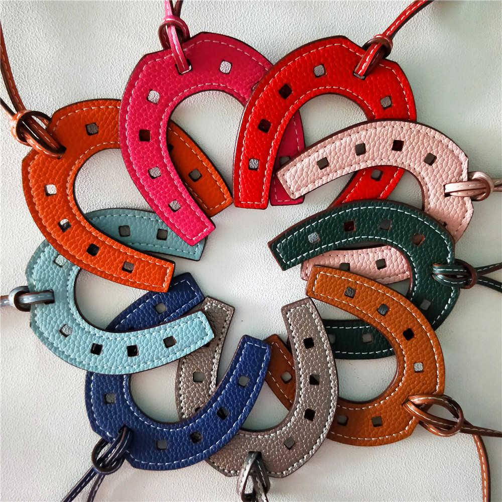 Horse Hoof Horseshoe PU Leather Keychain Pendant Key Chain Women Bag Charm Accessories for Handbag,1