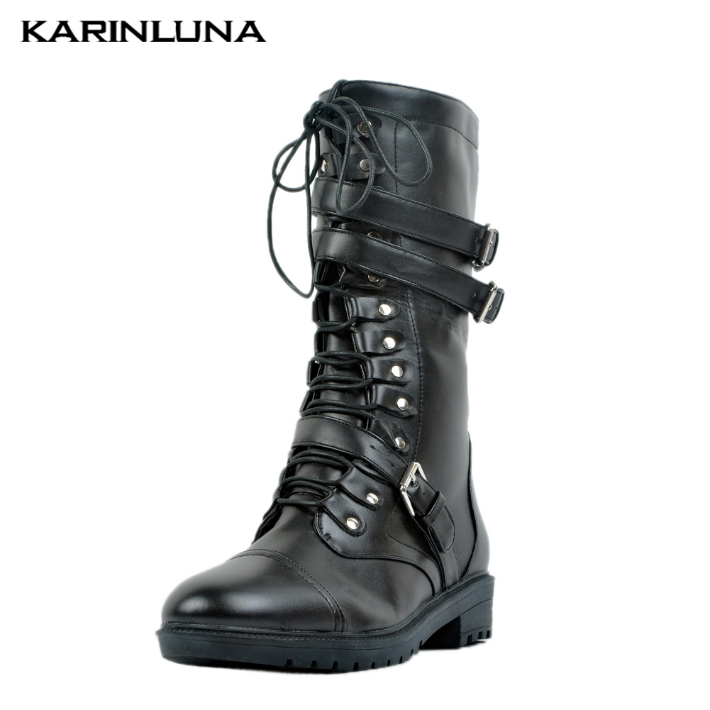 Karinluna 2019 marque grande taille 47 personnalisé Cool Street bottines chaussures femme Sexy talons Chunky chaussures femmes Western bottes
