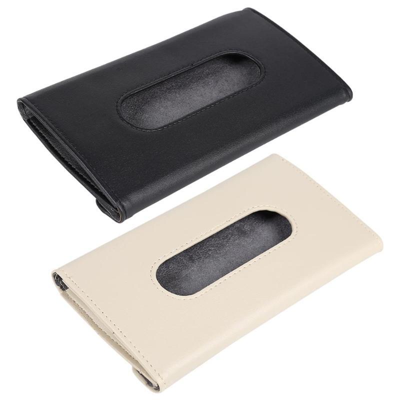 Auto Car Tissue Holder Coche Sun Visor Tissue Box Holder PU Leather Paper Napkin Cover Auto Interior Styling Accessories