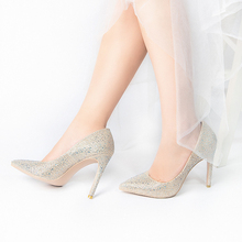 Women 10.5cm High Heels Pointed Toe Bling Glitter Luxury Sequins Pumps Stiletto Wedding Bridal Party Gold Fetish Shoes V572-122 2018 woman 15cm extreme high heels stiletto party heels glitter strappy platform valentine talons female bridal fetish pumps