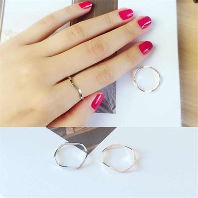 2019 แฟชั่นคลื่นแหวน Curve Design Knuckle Finger แหวนเครื่องประดับ Bague Femme Anillos Mujer WD152A