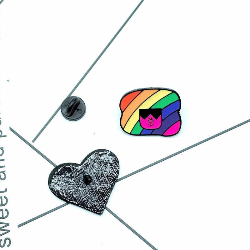 1PCs LGBT Pride Regenboog Hart Button Badge Gay Lesbische Symbool Pin Liefde Is Gelijk DIY Kleding Alpaca Naaien accessoires
