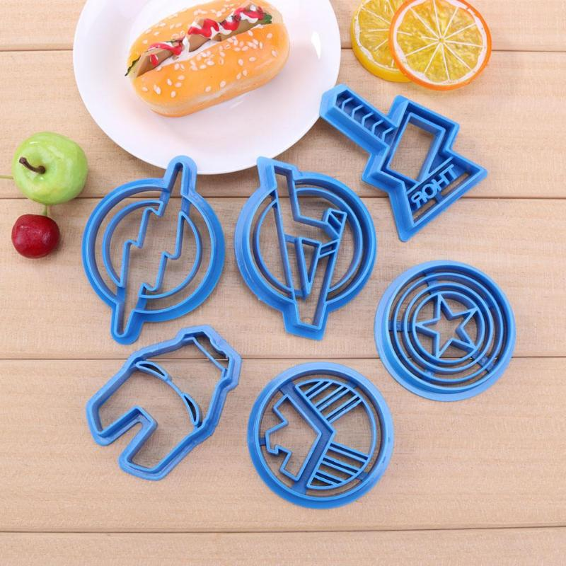 6pcs/set Super Hero Cookie Cutter Sugar Mold Baking Decor Tool Superheroes Biscuit Cake Sugarcraft Avengers Cookie Cutters