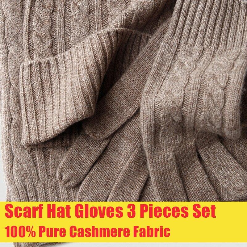 100% cachemire écharpe chapeau gants 3 pièces ensemble pour femmes hiver Pure cachemire écharpe tricoté chapeau et casquette avec gants ensemble cachemire