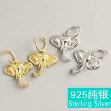 Fashion pop s925 sterling silver elephant gold and earrings hipster exaggerated personality brinecos