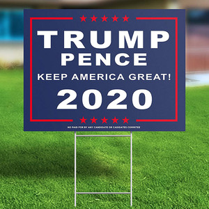 Trump Election Signage 2020 Lawn Signage Yard Sign With H-Frames Metal Stake Stand Outdoor Waterproof Double-Sided Sign