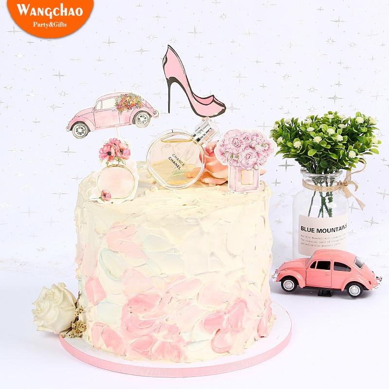 Magnificent 1 Set Perfume Flower Fashion Lady Theme Happy Birthday Cake Topper Funny Birthday Cards Online Necthendildamsfinfo