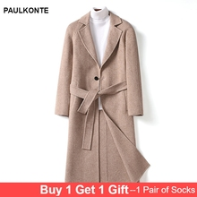 PAULKONTE Autumn Winter New Solid Color Mens Long Coat High Quality Business Simple Gentleman Wild Double Breasted MenS Jacket
