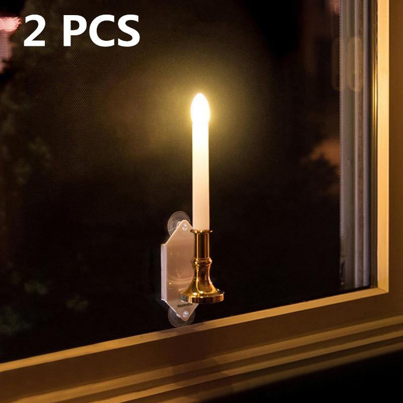 2pcs Solar LED Candle Light Solar Powered Candles Flameless Lamp Outdoor/indoor Window Decoration Wedding Party Decor Light