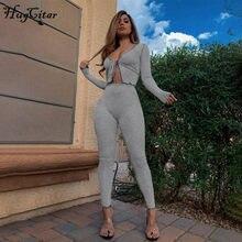 Hugcitar-Tops de Bandage de manga larga para mujer, conjunto de 2 piezas, chándal de retazos, ropa de calle de moda para otoño e invierno, 2020