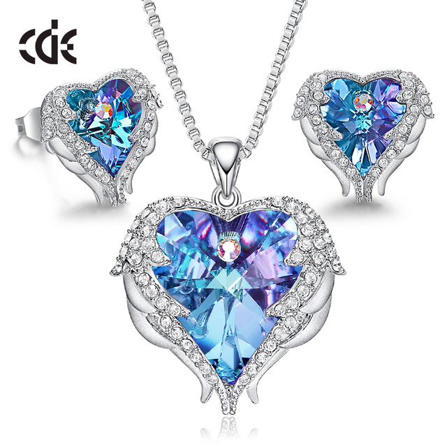 $ US $38.21 CDE Women Necklace Earrings Jewelry Set Embellished With Crystals from Swarovski Women Heart Pendant StudFashion Jewelry Gift