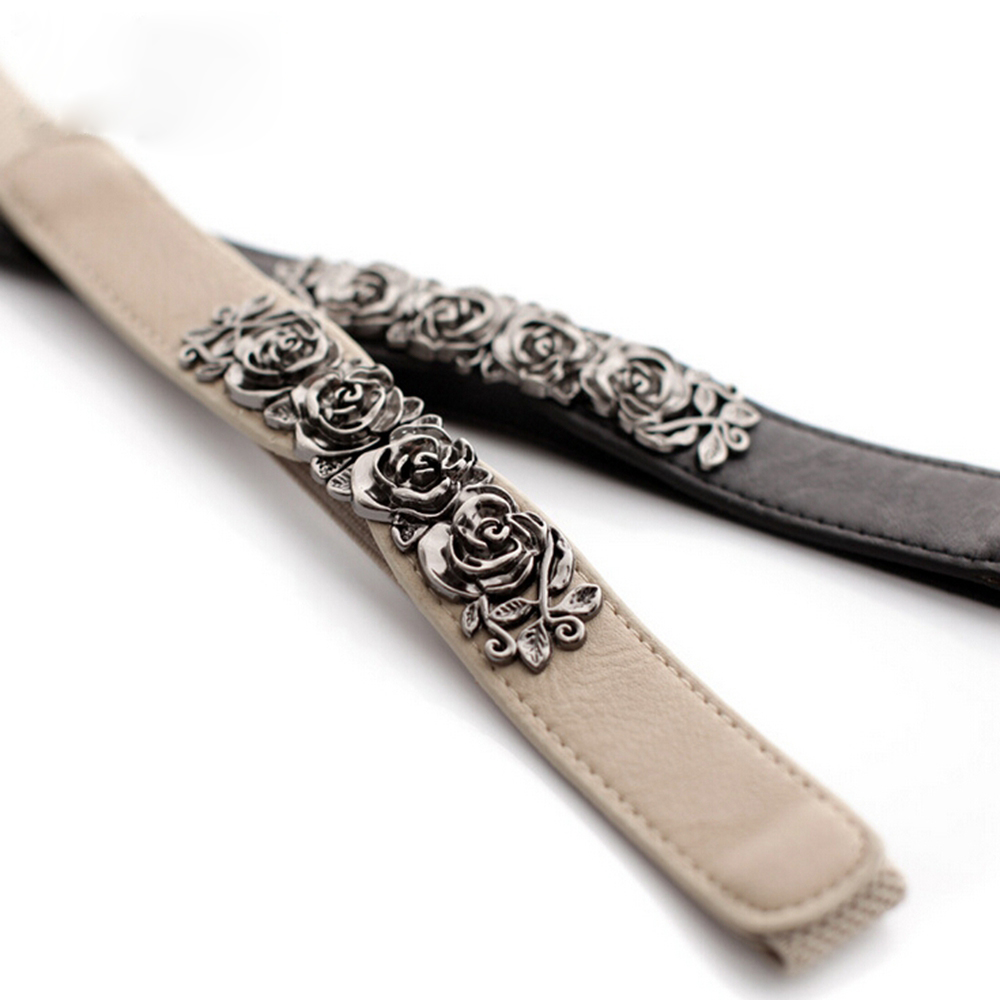 Women Vintage Skinny Waist Belt Thin Elastic Waistband Strap Metal Flower Buckle High Waist Belts Cinch Accessory