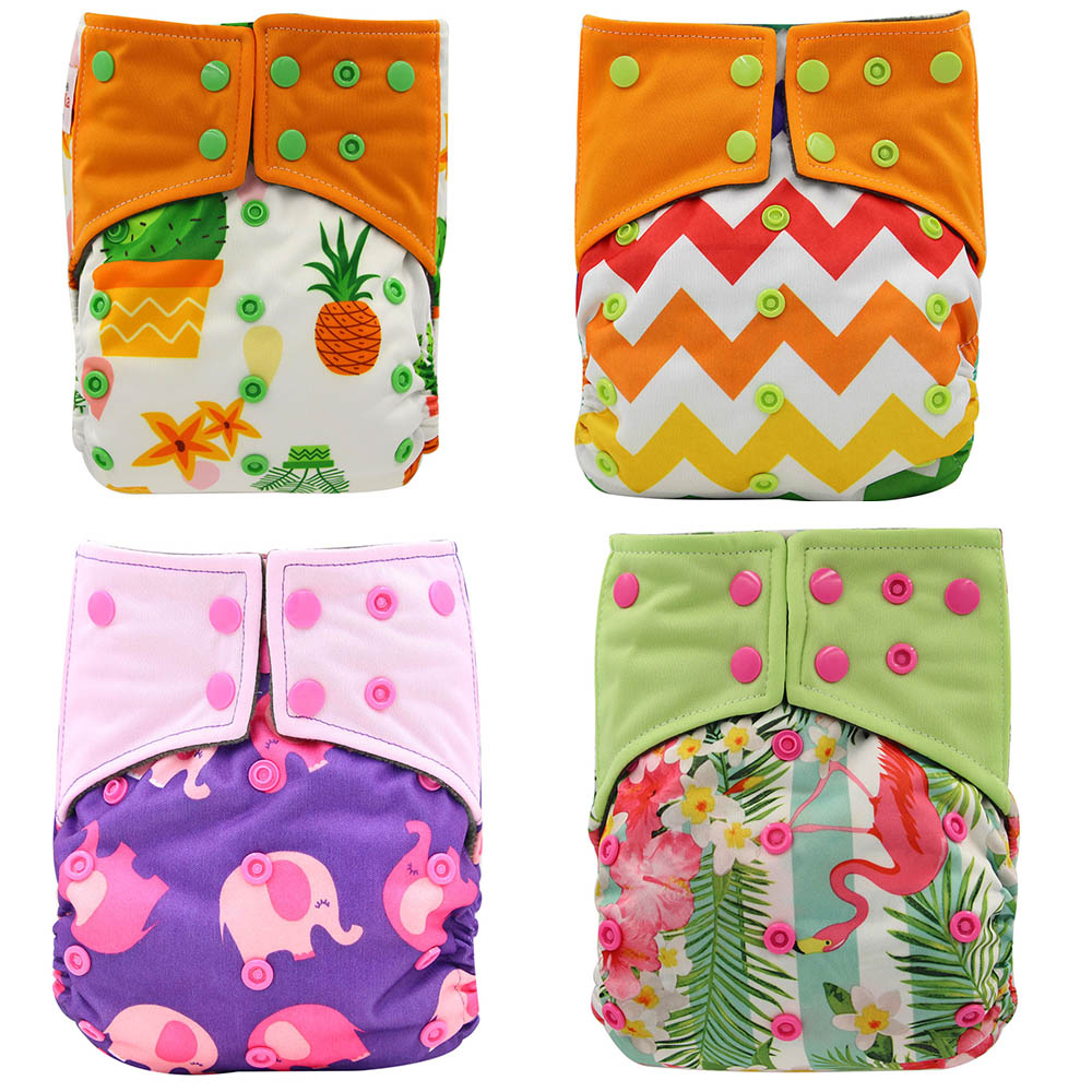 4PCS/Pack Baby Nappies All-in-two AI2 Double Guessets Cloth Diaper Cover Reusbale Newborn Diapers Bamboo Charcoal Pocket Diapers