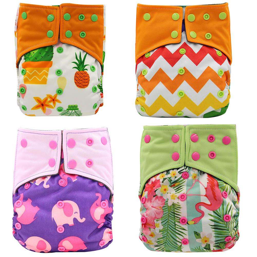 4 шт./упак. детские подгузники все-в-2 AI2 двойные комплекты тканевые подгузники многоразовые подгузники для новорожденных подгузники из бамб...