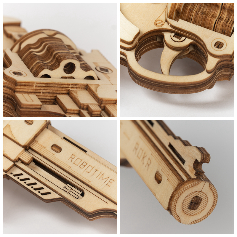 Image 5 - Robotime 102pcs DIY 3D Revolver with Rubber Band Bullet  Wooden Gun Puzzle Game Popular Toy Gift for Children Adult LQ401Puzzles   -