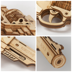 Image 5 - Robotimeปืนบล็อกอาคารDIY Revolver,ScatteยางBand Bulletไม้ยอดนิยมของขวัญของเล่นสำหรับเด็กผู้ใหญ่