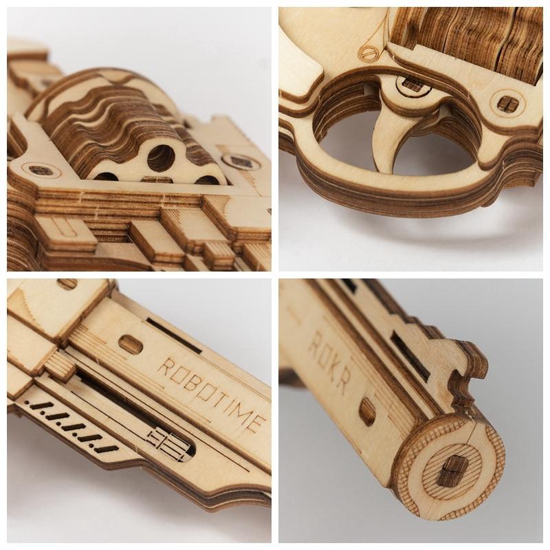 Robotime Gun Building Blocks DIY Revolver,Scatter with Rubber Band Bullet Wooden Popular Toy Gift for Children Adult Popular Toys cb5feb1b7314637725a2e7: LQ401 Revolver|LQ501 Scatter