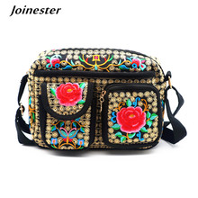 Ethnic Women Messenger Bags Floral Embroidered Canvas Corssbody Bag Girls School Satchels Ladies Shoulder Bag Purses and Clutch new listing classic red embroidered ethnic bags brand canvas handmade pompon women shoulder bags