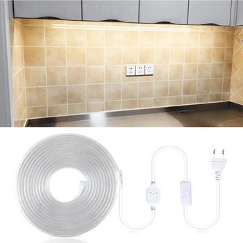 Enchufe europeo de 220V luz LED para armario con interruptor de control táctil 1-20M luz LED de cocina para armario ropero armario iluminación trasera