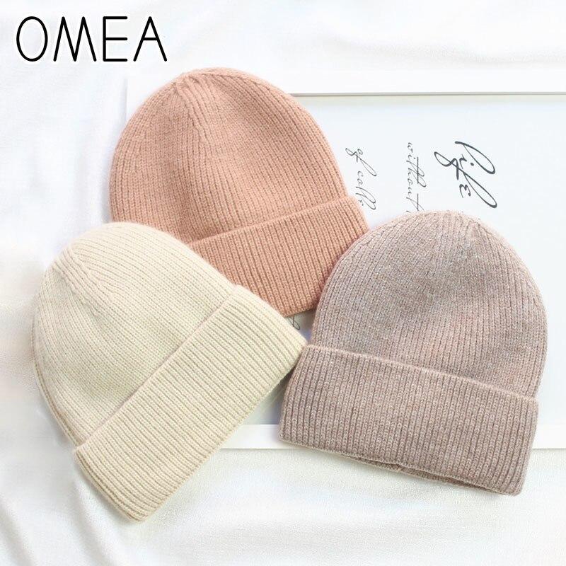 OMEA Solid Color Knitted Winter Hats Women Winter Imitation Angora Rabbit Fur Hat Thicken Beanies For Men Plus Velvet Fleece Cap
