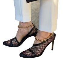 Женские босоножки на высоком каблуке с цепочкой в сеточку; Туфли