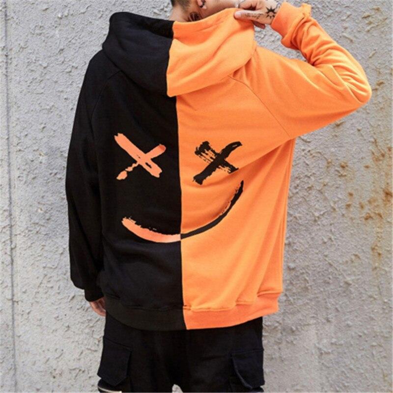 Unisex Hoodies Sweatshirt Happy Smiling Face Print Men Patchwork Hoodies Women Long Sleeve Hooded Pullover Jumper Sweatshirt Men