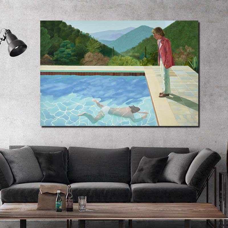 David Hockney Pool with Two Figures Wall Art Posters And Prints Canvas Painting