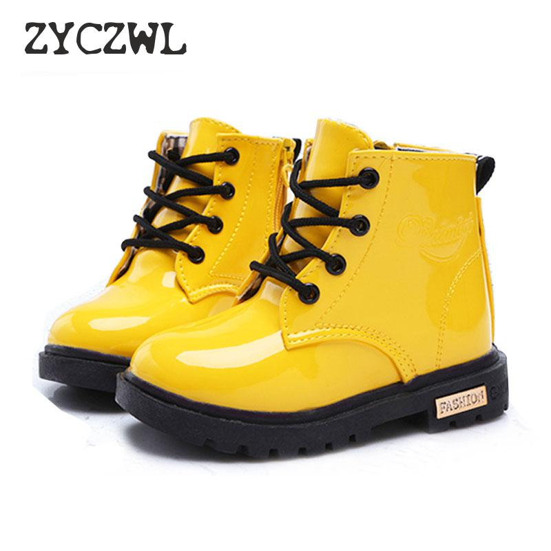 New Winter Children Shoes PU Leather Waterproof Martin Boots Kids Snow Boots Brand Girls Boys Rubber Boots Fashion Sneakers