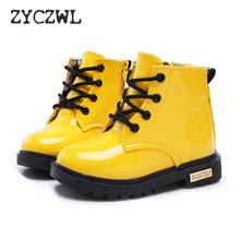 купить New Winter Children Shoes PU Leather Waterproof Martin Boots Kids Snow Boots Brand Girls Boys Rubber Boots Fashion Sneakers дешево
