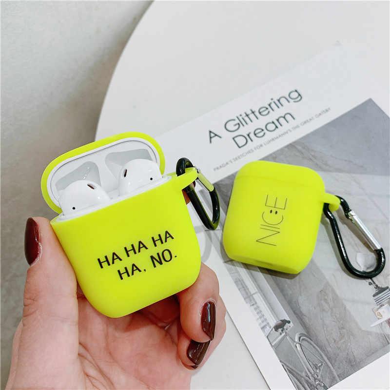 애플 airpods 2/1 케이스에 대 한 형광 색 문자 케이스 airpod 헤드폰 케이스 상자 가방에 대 한 귀여운 블루투스 이어폰 소프트 커버