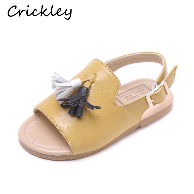 Summer Kids Girls Lovely Tassels PU Soft Leather Solid Simplicity Sandals Non Slip Comfortable Toddler Princess Beach Shoes