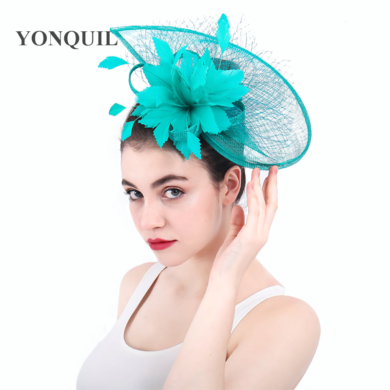 Turquoise Wedding Church  Party Fascinator Hat.Veil Feather Bridal Wedding Hair
