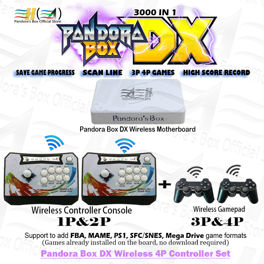2020 Pandora Box DX <font><b>3000</b></font> in 1 <font><b>4</b></font> Players Wireless Set save game progress have 3P 4P game can add 5000 games support 3D tekken image